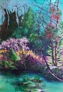 Jardin 2 {Parc du Thabor + Corseul + 18 de Septiembre} - Acrylique sur papier, bois - 230 x 150 cm