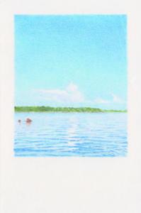 Alexandre Luu, La Blanche, 2021, Crayon de couleur sur papier - 10x15cm