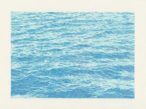 Alexandre Luu, La Manche 01 - (comment dessiner la mer après Vija Celmins ?), 2021 - Crayon de couleur impression sur tissu 192x144cm