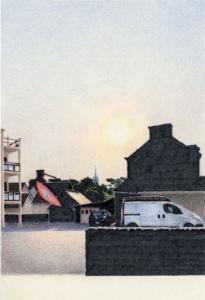 Alexandre Luu, Saint-Jacut- Au Cottage de la mer, 2021 - Crayon de couleur Impression sur tissu, 40x60cm