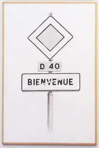 Bienvenue, 2015. Encre de chine et acrylique sur panneau MDF. 80x122cm