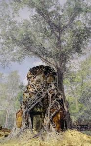 Koh Ker #1, 2019encre et grattagesur photographie116x74cm
