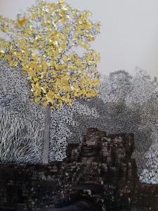 Tetrameles nudiflora #11, grattage sur photographie et dorure, 24x 32cm, 2018