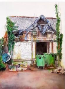 Cassandre Fournet - Arrière-cour, 2019 - Aquarelle - 55x65 cm