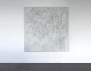 Sans titre - fragment de lignes d'erre 2 | 2021Acrylique, spray, caséine, pigments, craie, huile sur toile et huile sur film d'emballage 160x160cm