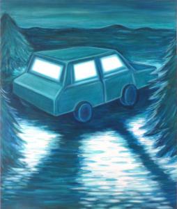 Lise Stoufflet - Lonely car - 60x50cm - 2020 - huile sur toile