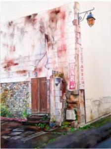 Cassandre Fournet - Porte sur cour, 2019 - Aquarelle - 55x65 cm