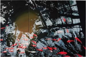 Clémentine Chalançon - Les Poissons  -(80,3x40,3cm)x3 - Huile sur toile 2020